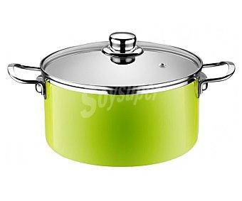 MONIX Olla o cacerola alta de 20 centímetros de diámetro color verde lima, fabricada en acero esmaltado de 1,8 milímetros. Apta para inducción 1 unidad