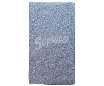 Auchan Sábana bajera ajustable de franela 100% algodón, color azul, 150 centímetros 1 unidad