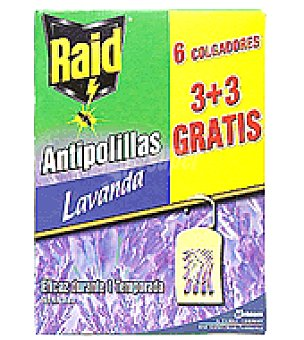 Raid Colgador antipolillas perfume Lavanda Natural Caja de 6 colgadores (3 + 3 gratis)
