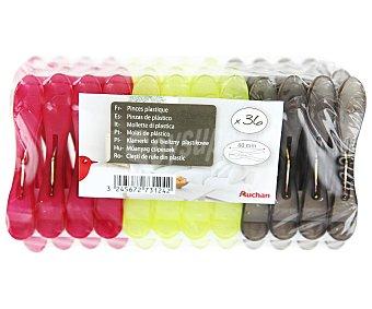 Auchan Pinzas de plástico para la ropa 36 Unidades