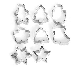 HABI Set de 8 cortadores o moldes con formas surtidos fabricados en acero inoxidable pack de 8 unidades