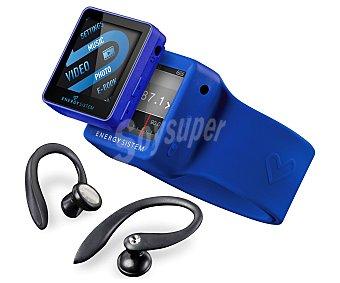 """ENERGY SISTEM 2504 Reproductor MP4 4GB con sintonizador de radio am/fm, pantalla de 1,5"""", Azul eléctrico, funda muñequera y cascos deportivos"""
