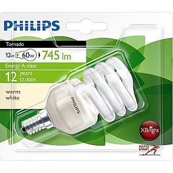 PHILIPS Tornado 12 W (60 W) lámpara ahorro blanco cálido casquillo E14 (fino) 220-240 V