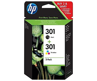 HP Pack de 2 cartuchos de tinta negro y tricolor 301 Pack