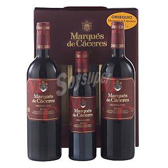 """Marqués de Cáceres Estuche de 2 vinos D.O. Ca. """"rioja"""" tinto crianza 75 cl + 1 vino 37,5 cl 1 ud"""
