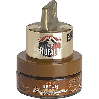 Bufalo Limpia calzado crema 2 en 1 marrón tostado con aplicador Tarro 50 ml