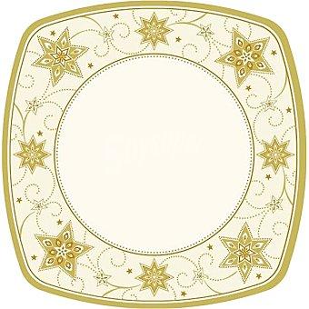 Papstar Plato cartón angular Just Stars color crema 26x26 cm Paquete 8 unidades