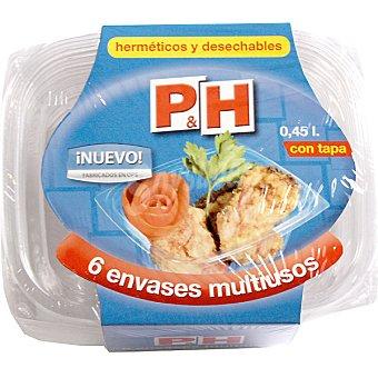 P & H Recipiente multiusos con tapa hermético y desechable envase 6 unidades 0,45 l