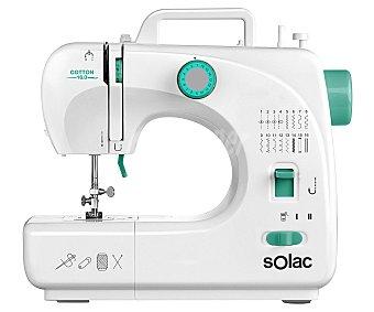 Solac Máquina de coser Cotton, 16 puntadas, brazo libre, ojal automático en 4 tiempos, con/sin pedal, luz SW8230