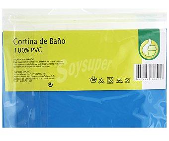 Productos Económicos Alcampo Cortina de baño lisa color azul de Pvc, 135x180 centímetros 1 Unidad