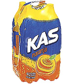 Kas Refresco de naranja con gas Pack de 4 botellas de 2 l