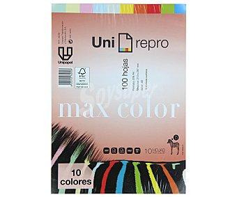 UNI-REPRO Hojas de papel de 10 colores, de tamaño DIN A4, 100 hoas de 80 gramos uni-repro 80gr