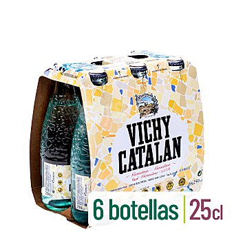 Vichy Catalán Agua mineral con gas Pack 6 botellines x 25 cl