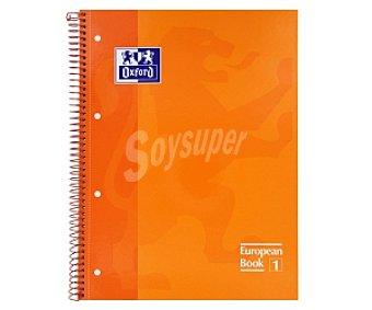 Oxford Cuaderno DIN A4 con cuadricula de 5x5 milímetros, margen izquierdo, 80 hojas de 90 gramos, tapas extraduras de color naranja y microperforado con encuadernación con espiral metálica 1 unidad