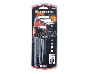 TACTIX Lote de 9 Llaves Allen, de 1.5 a 10 Milímetros, Fabricadas en Cromo-Vanadio CRV 1 Unidad