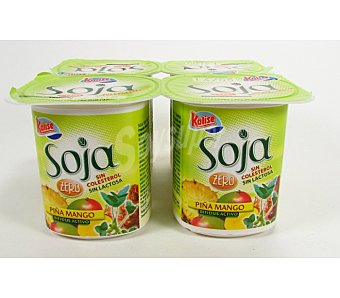 Kalise Postre Soja 100% Vegetal piña-mango 4 Unidades de 125 Gramos