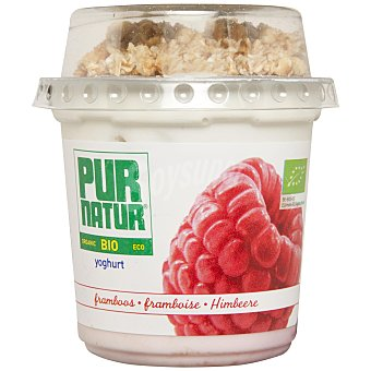 Pur Natur Yogur bio con frambuesas y topping de muesli 150 g
