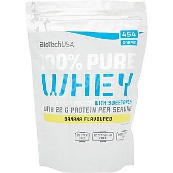 Biotech usa Bebida proteíca en polvo 100% suero de leche con sabor a plátano bolsa 454 g sin gluten y sin azúcares añadidos bolsa 454 g