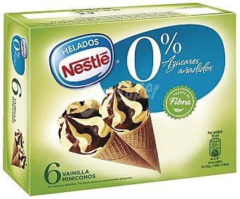 Helados Nestlé Mini cono sin azúcares añadidos sabor vainilla y chocolate 6x420 ml