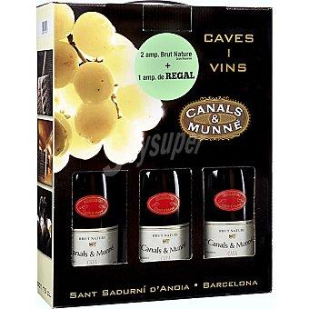 CANALS & MUNNE Cava brut nature gran reserva estuche 2 botellas 75 cl + 1 botella de regalo Estuche 2 botellas 75 cl
