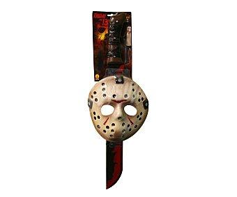 HAUNTED HOUSE Máscara y machete de Jason Voorhees para disfraz de Halloween, Viernes 13 Máscara+machete Jason