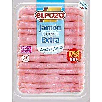 ElPozo Jamón cocido extra en lonchas extrafinas bajo en grasa sin gluten envase 180 g