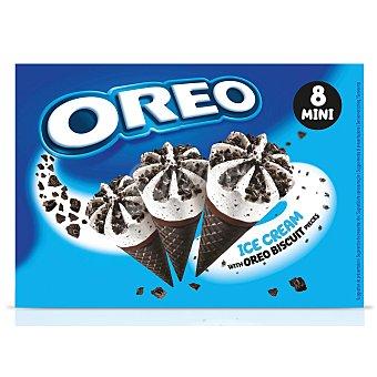 Oreo Mini conos con barquillo de chocolate y helado de nata con trocitos de galleta 8 x 28 ml