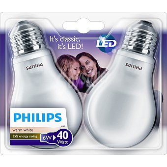PHILIPS LED Estantar 6W (40 W) Set 2 bombillas blanco cálido casquillo E27 (grueso)