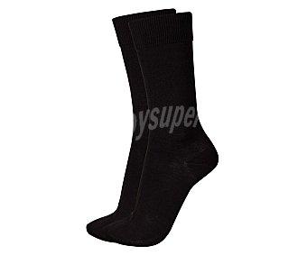 KLER Pack de 2 pares de calcetines de algodón y punto liso, color negro, talla única Pack de 2