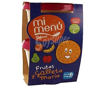Dulcesol Tarrina 4 frutas manzana pera plátano naranja y galleta maría 2 unidades 200 gramos