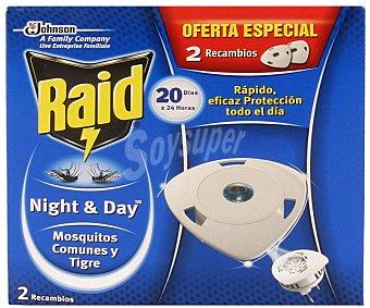 RAID Night&Day Recambio Insecticida Eléctrico Pack Ahorro 2 Unidades