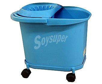DENOX Cubo de fregar con escurridor y ruedas de color azul, capacidad 16 litros 1 unidad