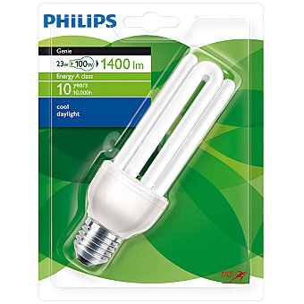 Philips (100 W) lámpara ahorro blanco frío casquillo E27 (grueso) 220-240 V Genie 23 W 1 unidad