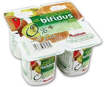 Auchan Yogur sin grasas con bifidus y kiwi (leche fermentada desnatada con kiwi y bifidobacterias. Con azúcar y edulcorantes) Pack de 4 unidades 125 gramos