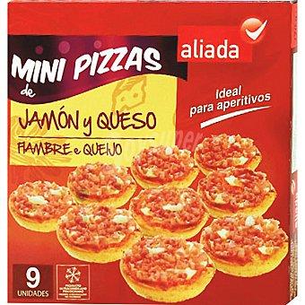 Aliada Mini pizzas jamón y queso estuche 270 g 9 unidades