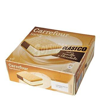 Carrefour Sandwich de vainilla y chocolate 6 ud