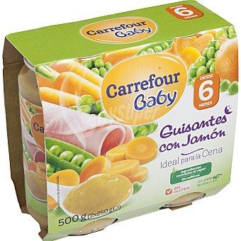 Carrefour Baby Tarrito de guisantes con jamón Pack 2x250 g