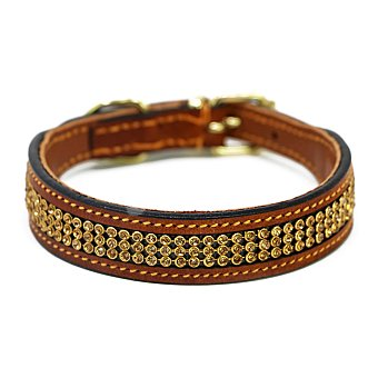 Biozoo Axis Collar para perros de piel con strass marrón 35 cm 1 unidad