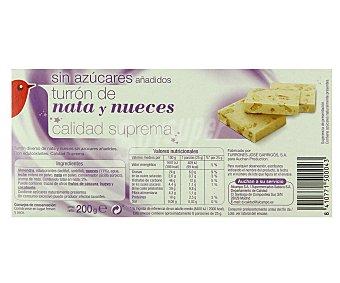 Auchan Turrón de nata y nueces sin azúcares añadidos 200 gramos
