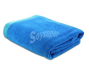 ACTUEL Toalla de playa lisa color azul, 90x160 centímetros. Toallas con tejido velour 100% algodón y densidad de 360 gramos/m² 1 unidad