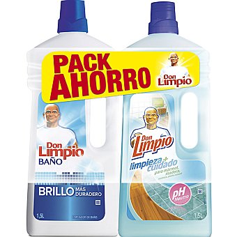 DON LIMPIO limpiador pH neutro + limpiador baño pack ahorro pack 2 botella 1,5 l