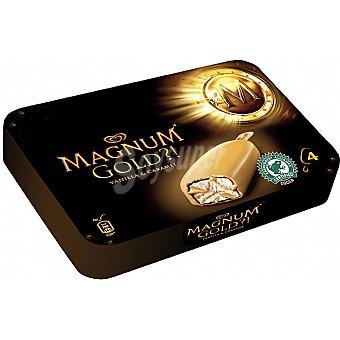 Magnum Frigo Helado de vainilla con caramelo y cobertura de chocolate crujiente Gold 4 unidades estuche 440 ml 4 unidades
