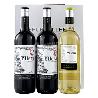 """Yllera Estuche de 2 vinos de la Tierra de Castilla y León tinto crianza + 1 vino D.O. """"rueda"""" Vendimia Nocturna verdejo Pack 3x75 cl"""