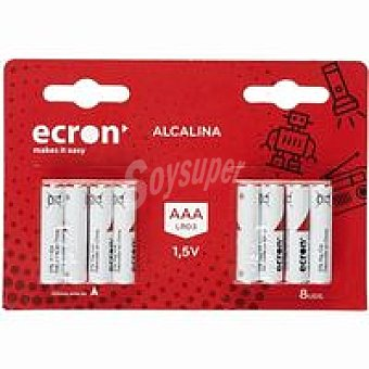 LR03 ECRON Pila alcalina Pack 8 uds