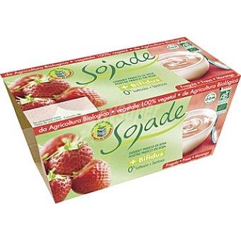 SOJADE Postre de soja + bífidus fresa estuche 200 g Pack 2 x 100 g