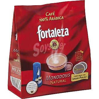 FORTALEZA Café natural 100% arábica para cafeteras monoosis y espresso paquete 125 g 16 unidades
