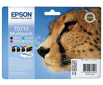 Epson Pack de 4 cartuchos de tinta negro, cian, magenta y amarillo T0715 Multipack