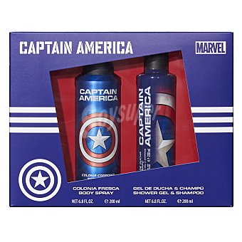 Marvel Lote infantil capitan america colonia body spray 200 ml (envase aluminio) + gel / champu 200 ml 1 unidad