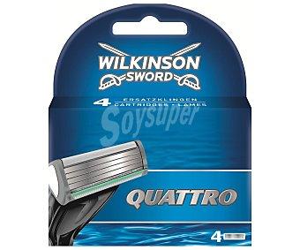Wilkinson Recambio de cuchillas de 4 láminas para maquinilla de afeitar Quattro 4u