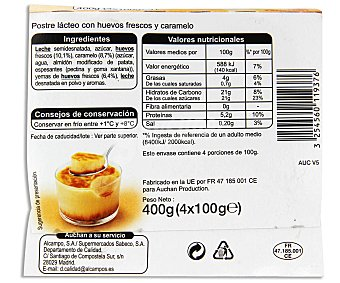 Auchan Flan de caramelo Pack 4 unidades de 100 gramos